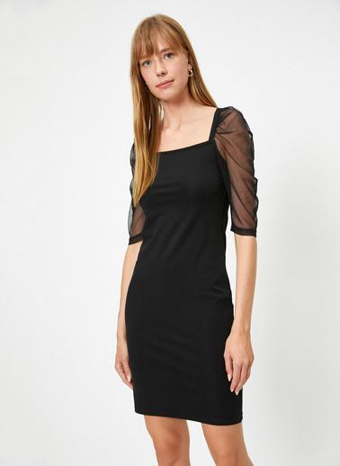 Koton Tül Detayli Elbise Siyah
